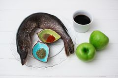 Ingredients fish spicy soy sauce fruit Stock Photos