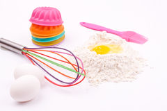 Ingredients,flour,egg with whisk royalty free stock images