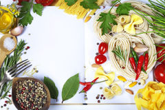Ingredients fof making Italian Pasta Stock Photo