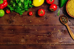 Ingredients food cooking: vegetables, spices, grains Stock Photos
