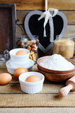 Ingredients For Baking, Rustic Table Stock Photo