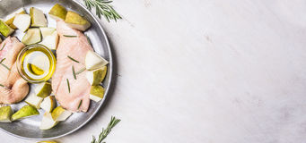 Free Ingredients For Cooking Duck Breast With Fruit, Herbs Honey  Frying Pan,  Border ,place For Text Royalty Free Stock Image - 65612446