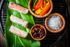 Ingredients For Fresh Spring Rolls Stock Image