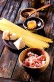 Ingredients For Pasta Carbonara Royalty Free Stock Photos