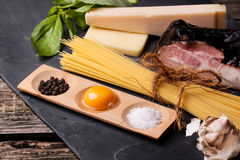 Ingredients For Spaghetti Alla Carbonara Royalty Free Stock Photos
