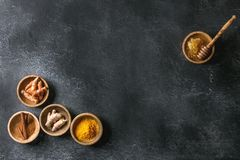 Free Ingredients For Turmeric Latte Stock Photo - 109622490