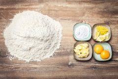 Ingredients for fresh bakery goods, cookie dough or biscuits royalty free stock photos