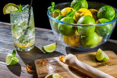 Ingredients for a fresh cold drink with citrus Royalty Free Stock Photos