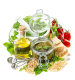 Ingredients for fresh green pesto sauce on white background Stock Photo