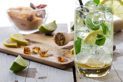 Ingredients for fresh mojito with ice Royalty Free Stock Images