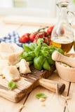 Ingredients for fresh pesto Stock Photo