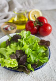 Ingredients for a fresh salad with tomatoes and garden herbs Stock Photo