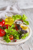 Ingredients for a fresh salad with tomatoes and garden herbs Royalty Free Stock Photo