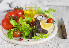 Ingredients for fresh vegetable salad with tomatoes Stock Image