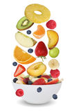 Ingredients for fruit salad with fruits like apples, oranges, ba Stock Photography