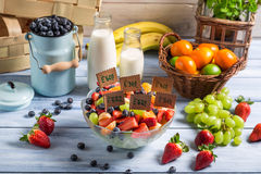 Ingredients for fruit salad with no preservatives Stock Images