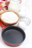 Ingredients and frying pan for a batch of pancakes Stock Image