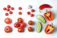 Ingredients for gazpacho soup on a white background Royalty Free Stock Images