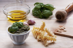 Ingredients for Genovese pesto Royalty Free Stock Image