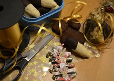 Ingredients for gifts with cookies and Christmas decoration royalty free stock image
