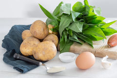 Ingredients for gnocchi with wild garlic Royalty Free Stock Photos