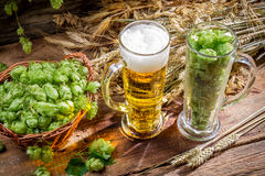 Ingredients for the golden beer with a large foam. On old wooden background Royalty Free Stock Photography