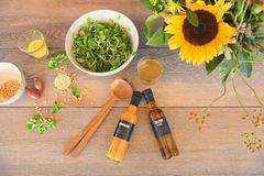 Ingredients for good salad with vinaigrette - lemon, onions, oil, vinegar, pine nuts Royalty Free Stock Image