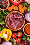 Ingredients for goulash or stew cooking: raw meat,herbs,spices,v Stock Photos