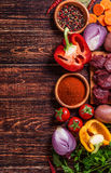 Ingredients for goulash or stew cooking: raw meat,herbs,spices,v Royalty Free Stock Photography