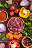 Ingredients for goulash or stew cooking: raw meat,herbs,spices,v Stock Photography