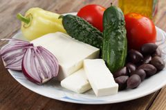 Ingredients for Greek salad Stock Photos