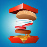 Ingredients hamburger ejected from the packaging Stock Image