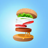 Ingredients hamburger ejected from the packaging stock illustration