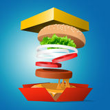 Ingredients hamburger ejected from the packaging Stock Photos