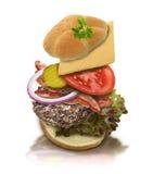 Ingredients Of Hamburger Royalty Free Stock Photos