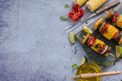 Ingredients for healthy bbq or grill. On marble top, flat lay, view from above Stock Photos