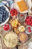 Ingredients for a healthy breakfast - berries Stock Photos