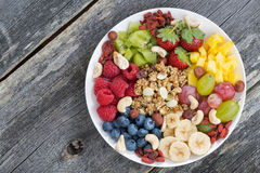 Ingredients for a healthy breakfast in one dish Stock Photo