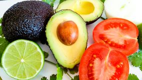 Guacamole ingredients. Healthy and delicious Royalty Free Stock Images