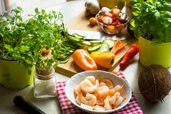 Ingredients for healthy lunch. Some ingredients for healthy lunch royalty free stock photos
