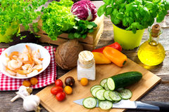 Ingredients for healthy lunch. Some ingredients for healthy lunch royalty free stock photo