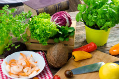 Ingredients for healthy lunch. Some ingredients for healthy lunch stock photos