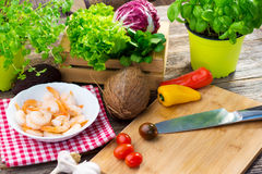 Ingredients for healthy lunch. Some ingredients for healthy lunch stock photography