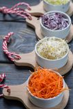 Ingredients for healthy salad. Raw fresh young organic sprouts o. Raw fresh young organic sprouts of leek, alfalfa, red reddish and carrot in bowls Royalty Free Stock Image