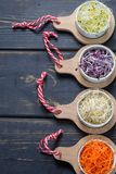 Ingredients for healthy salad. Raw fresh young organic sprouts o. Raw fresh young organic sprouts of leek, alfalfa, red reddish and carrot in bowls top view Stock Image