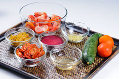 Ingredients for healthy vegetable drink shakes Stock Image