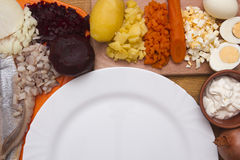 Ingredients for the herring salad with an empty plate Royalty Free Stock Image