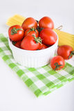 Ingredients: сherry tomatoes and spaghetti Royalty Free Stock Images