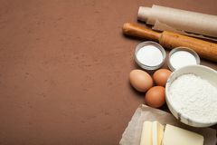 Ingredients for home-made dough, empty space for text stock photography