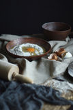 Ingredients for home-made raw noodles. Rustic, Selective Focus, Atmospheric dark tone Stock Photography